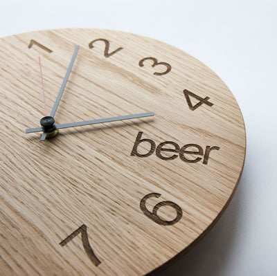 wooden beer clock