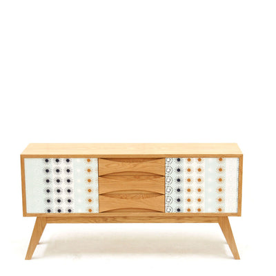 European Oak Retro Sideboard With Formica Patterning
