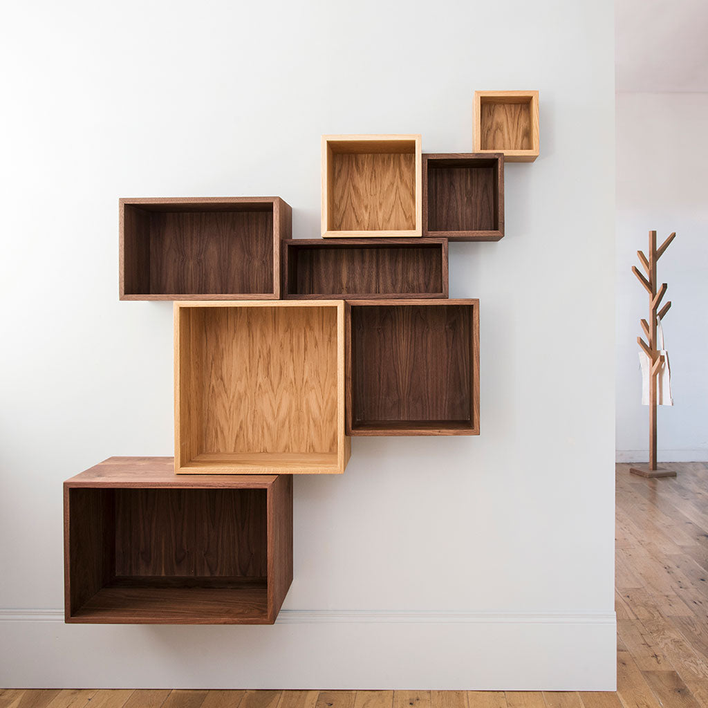 Solid wood cube shelves in walnut or oak
