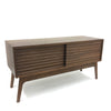 Contemporary Walnut Media Cabinet With Sliding Doors