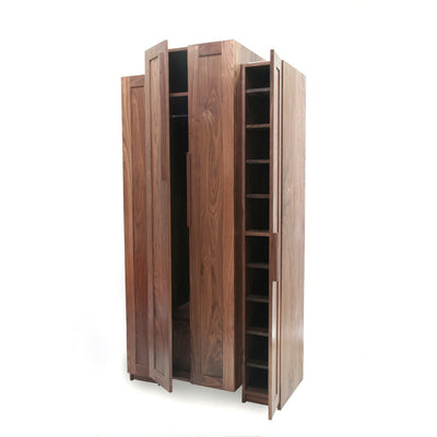 walnut wardrobe open