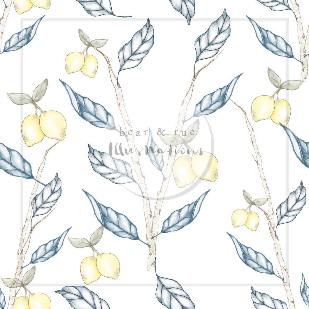 NON EXCLUSIVE | Seamless pattern design | Digital Download | Lemon Birch White | 8x8 inches