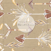 NON EXCLUSIVE | Seamless pattern design | Digital Download | Tribal Arrows Linen Mustard | 8x8 inches
