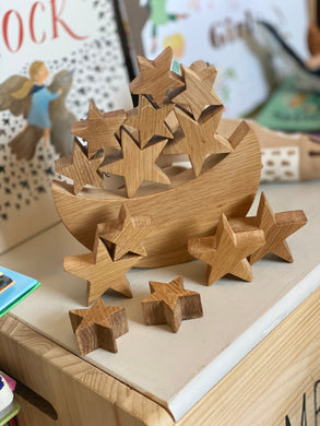 Moon & Star Stacker Solid Oak