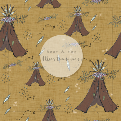 NON EXCLUSIVE | Seamless pattern design | Digital Download | Meadow Teepees Mustard | 8x8 inches