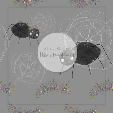 NON EXCLUSIVE | Seamless pattern design | Digital Download | Flower Crown Spider Grey | 8x8 inches