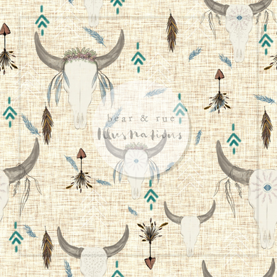 NON EXCLUSIVE | Seamless pattern design | Digital Download | Boho Skulls Ecru | 8x8 inches