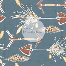 NON EXCLUSIVE | Seamless pattern design | Digital Download | Tribal Arrows Linen Blue | 8x8 inches