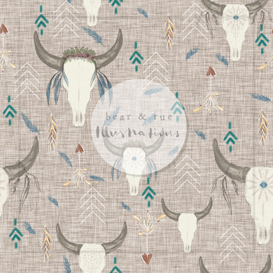 NON EXCLUSIVE | Seamless pattern design | Digital Download | Boho Skulls Hessian | 8x8 inches