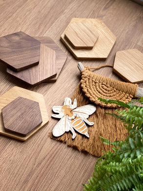 Honeycomb Flatlay Oak and Walnut Pieces