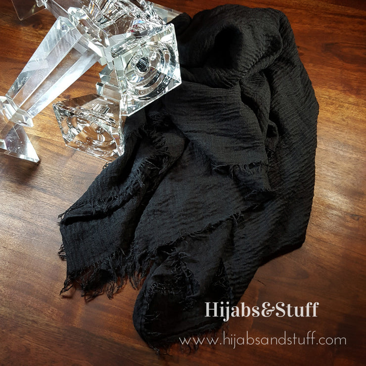Rippled Hijab - Black Matte #01