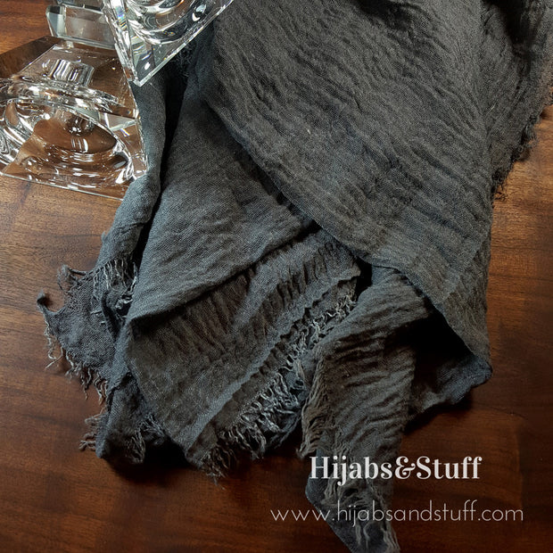 Rippled Hijab - Deep Grey #06 - Hijabsandstuff