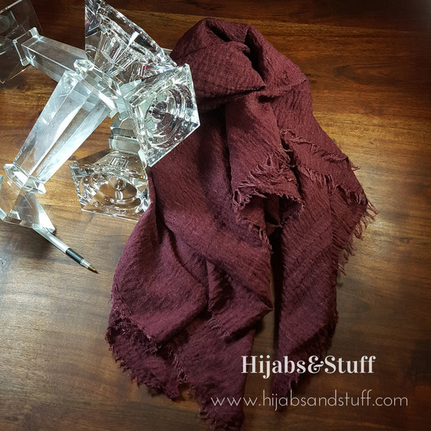 Rippled Hijab - Burgandy #25