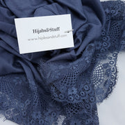 Jersey Lace 2 Edges - blue #7 - Hijabsandstuff