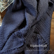 Rippled Hijab - Ink Blue #02 - Hijabsandstuff