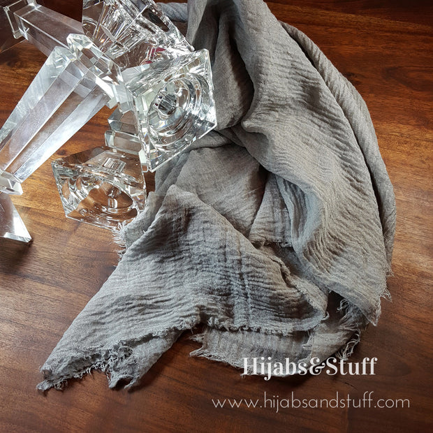 Rippled Hijab - Light Grey