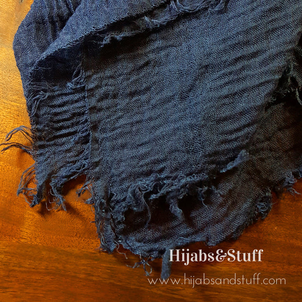 Rippled Hijab - Navy Blue #03 - Hijabsandstuff