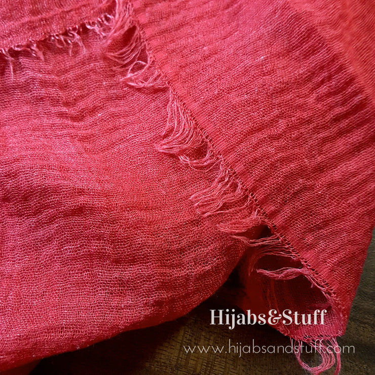 Rippled Hijab - Soft Red #32 - Hijabsandstuff