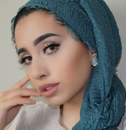 Rippled Hijab - Teal #20 - Hijabsandstuff