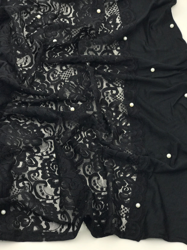 Jersey pearl lace - black (few pieces available)