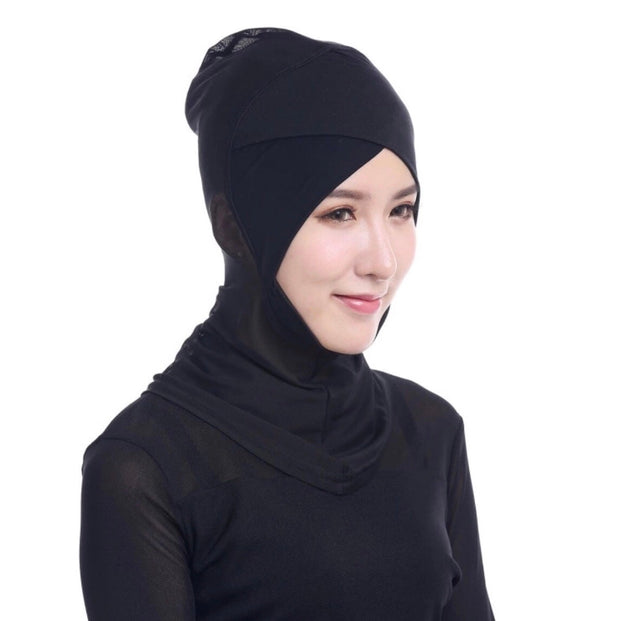 Full coverage under scarf cap cross front - black