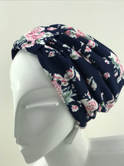 Turban - Stylish night blue pink floral garden