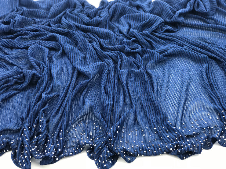Cashmere pleated chiffon - navy blue