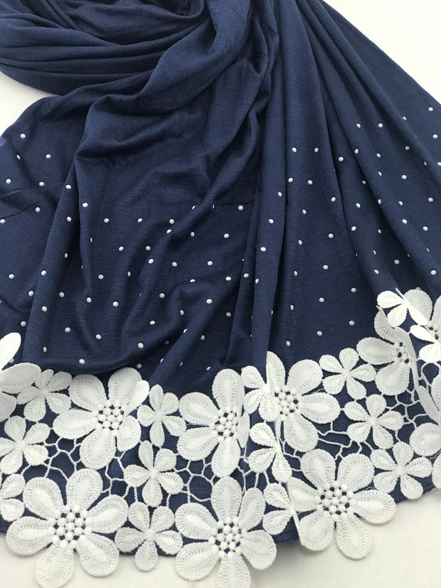 Fancy floral jersey - Dark blue