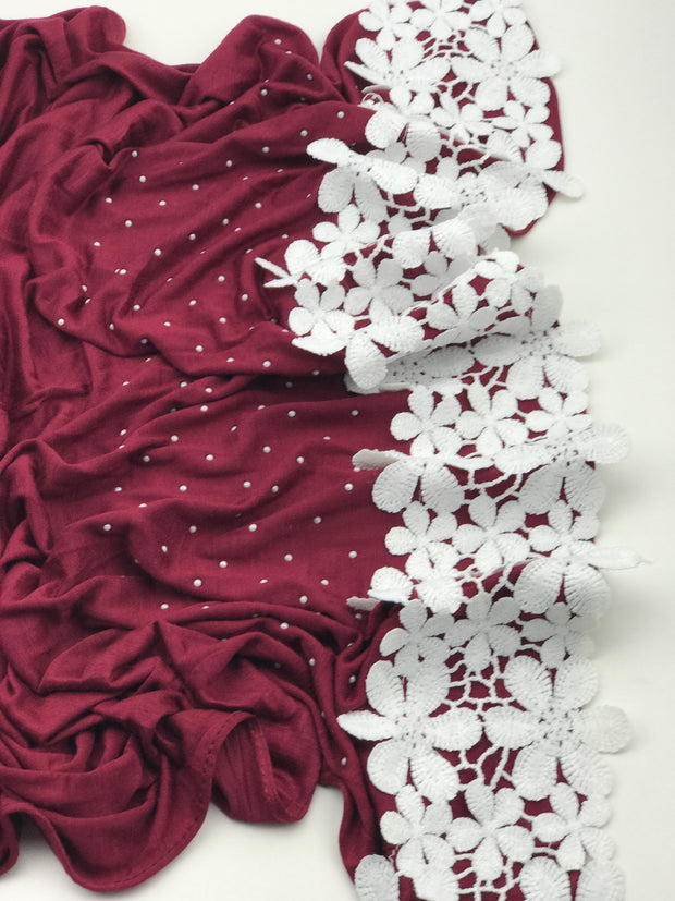 Fancy floral jersey (NEW ARRIVAL) - burgundy