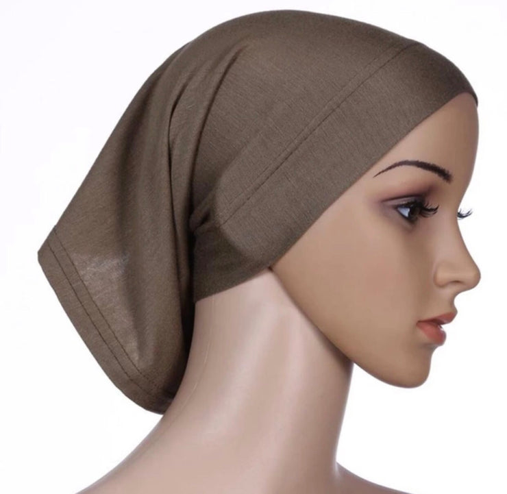 Under scarf cap- brown