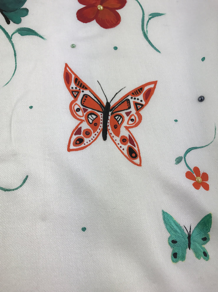 Pashmina shawl hijab - off white butterflies and flower #8 - Hijabsandstuff