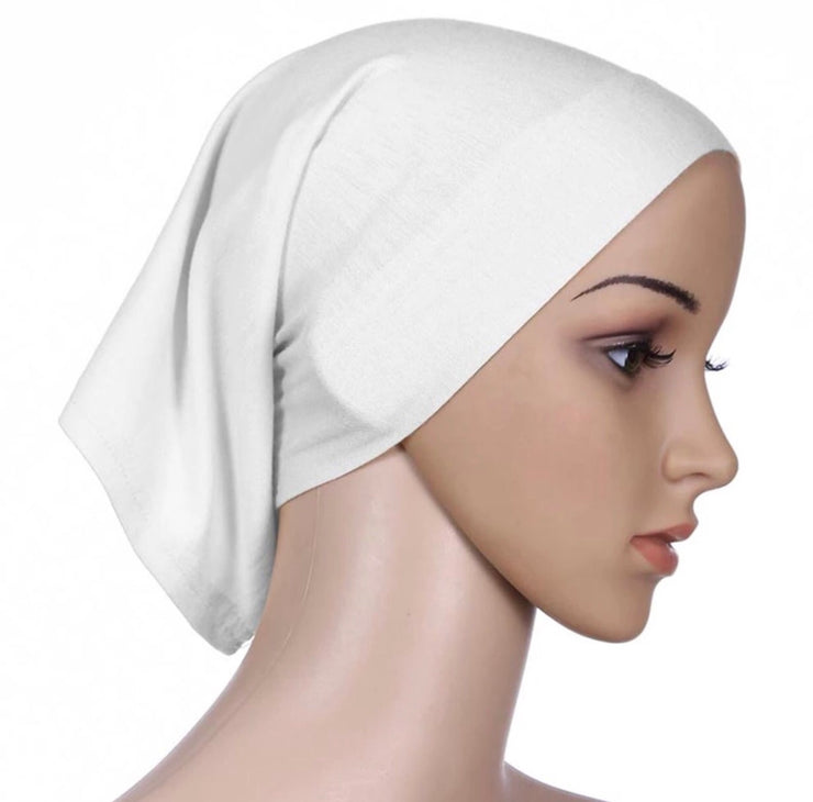 Under scarf cap - White