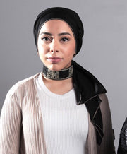 Gold Edge Hijab - Black