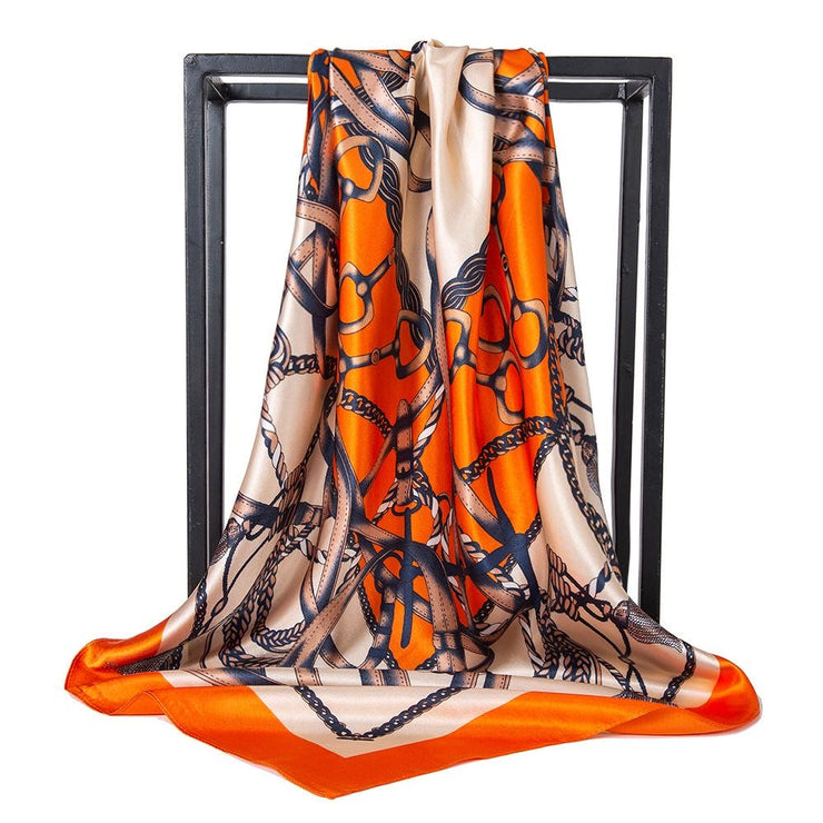 Printed square satin - Chain Orange
