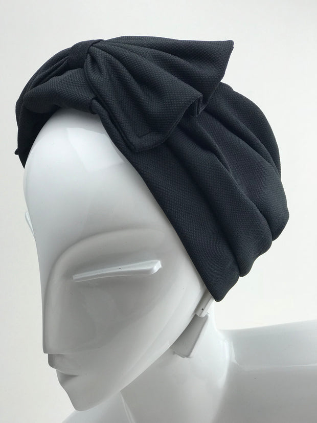 7401d7db Turban - cotton black with bow (last piece)
