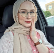 Rippled Hijab - Nude Beige