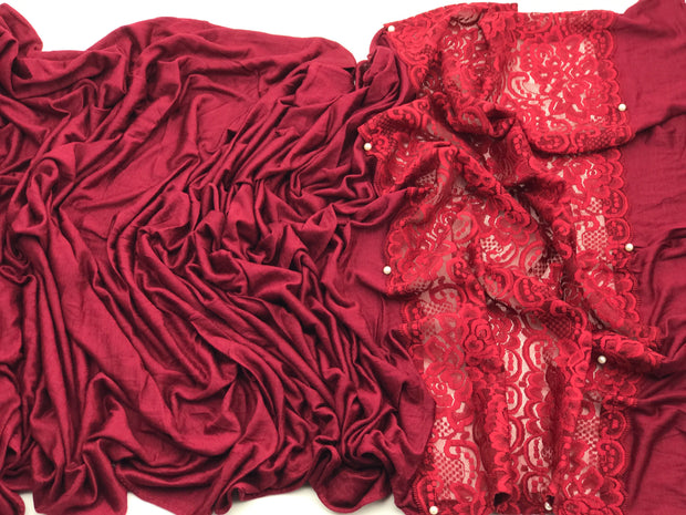 Jersey pearl lace - burgundy