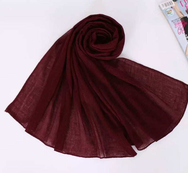 SOFT VISCOSE CRINKLED - BURGUNDY