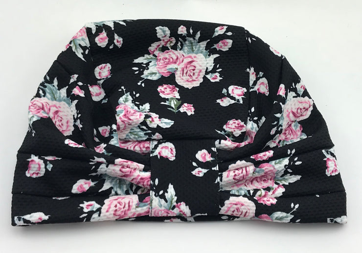 Turban - Stylish black pink floral garden