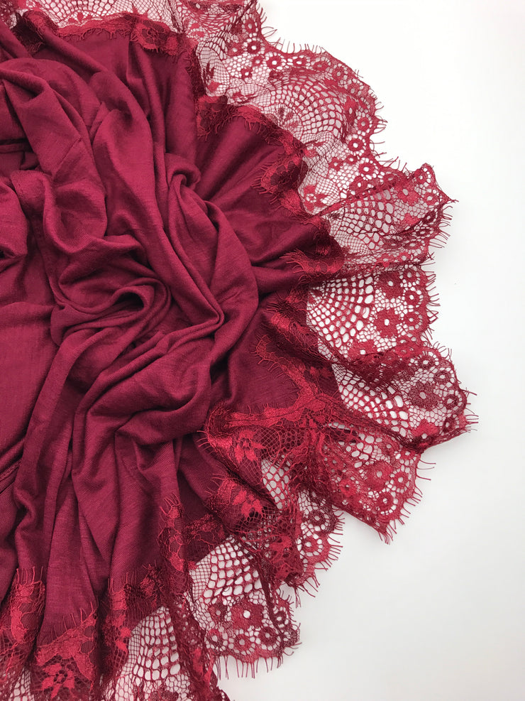 Jersey Lace 2 Edges - Deep Red