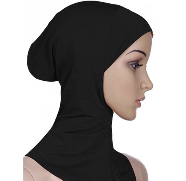 Full coverage under scarf cap- black
