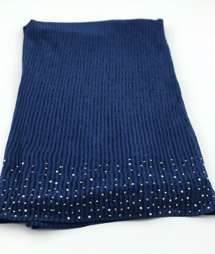 Cashmere pleated chiffon - navy blue (last piece)