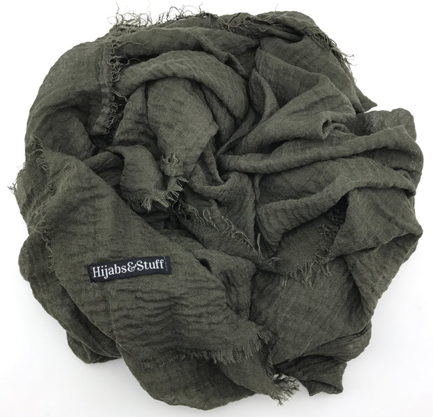 Rippled Hijab - Army Green #33 - Hijabsandstuff