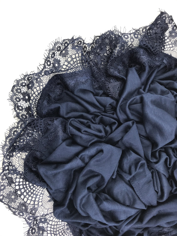 Jersey Lace 2 Edges - Night Blue #05 - Hijabsandstuff