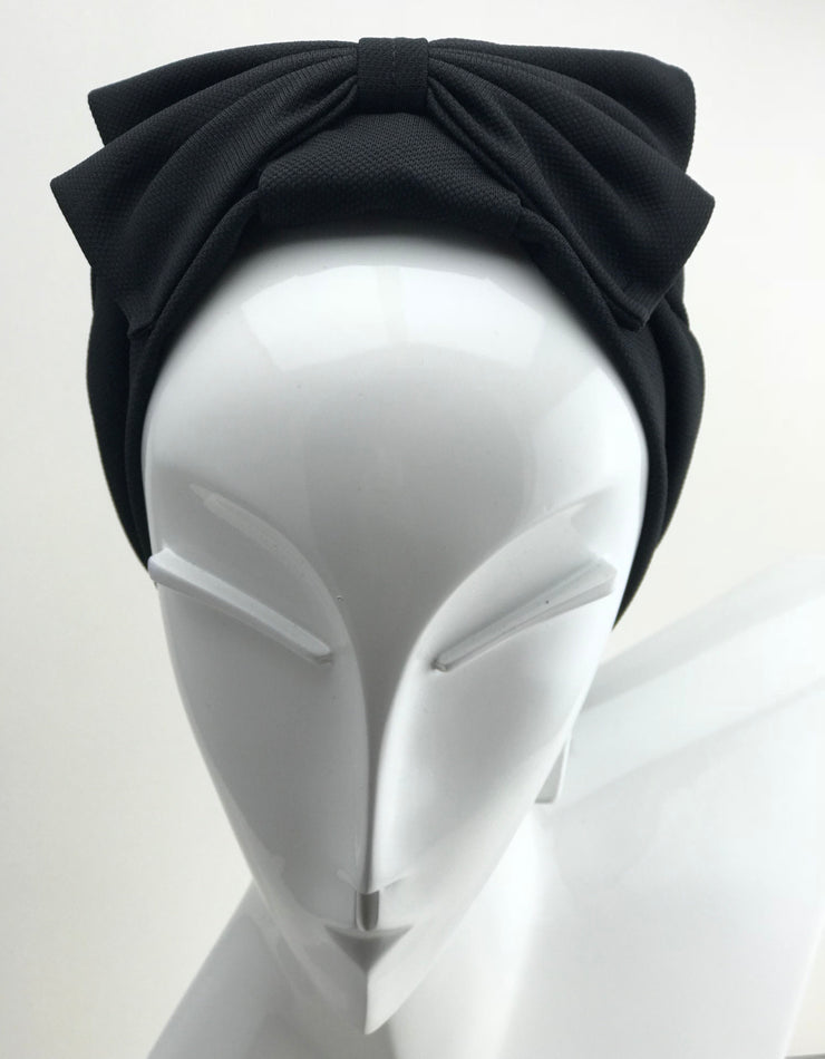 Turban - cotton black with bow (last piece)