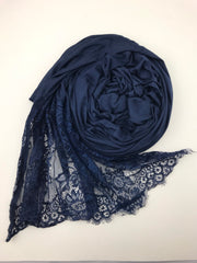JERSEY LACE ONE EDGE - Night blue