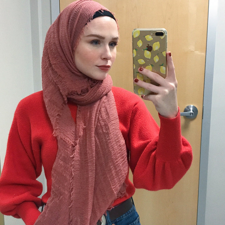 Rippled Hijab - Peach Coral #76