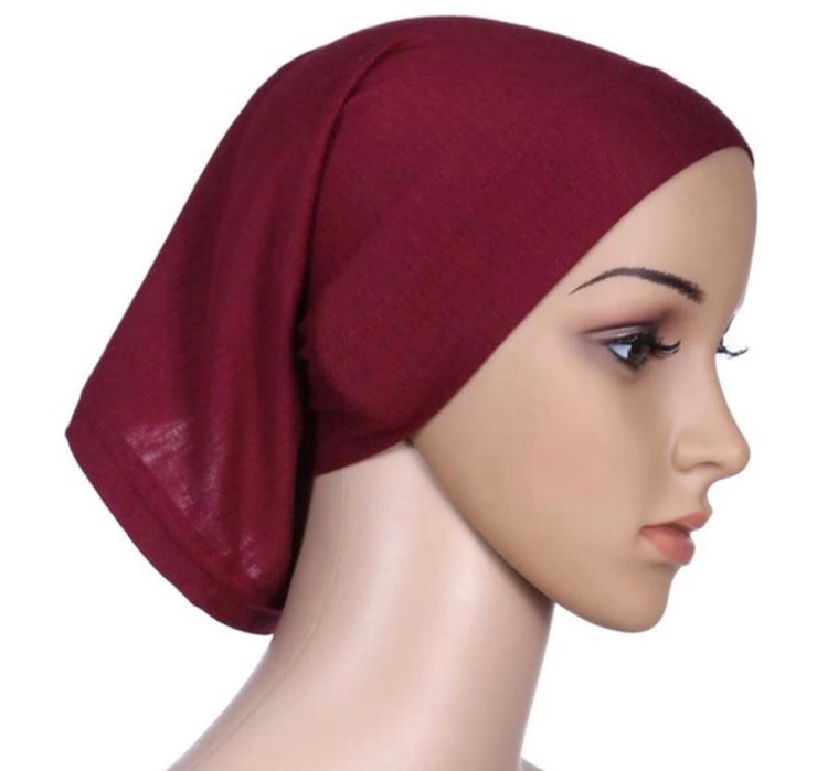 Under scarf cap - burgundy