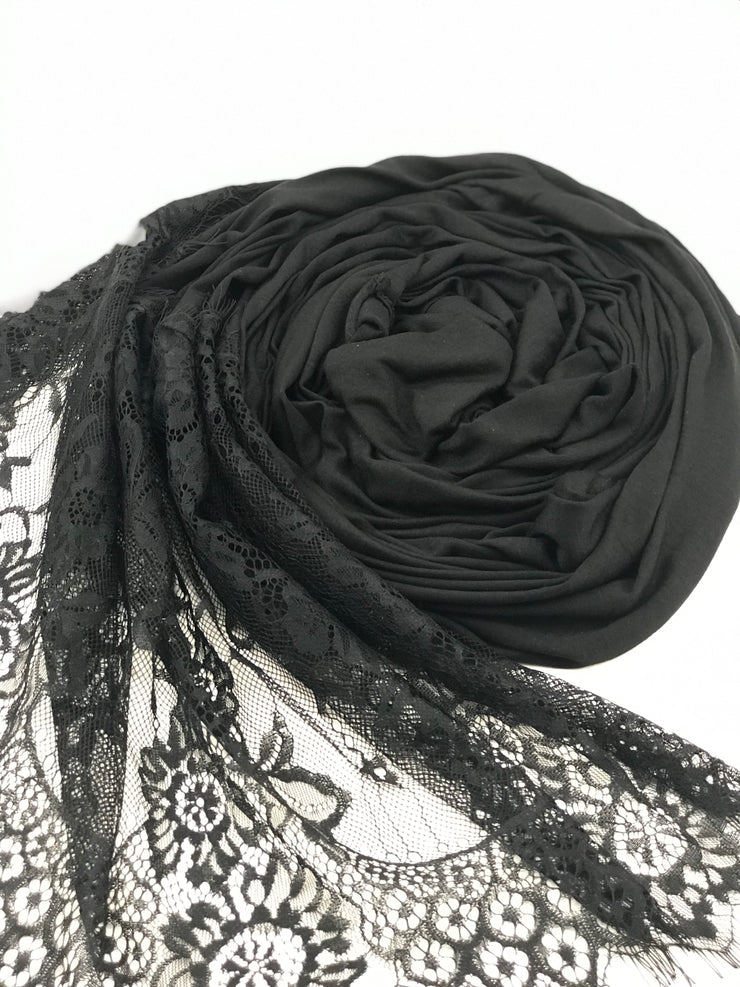 JERSEY LACE ONE EDGE - Black