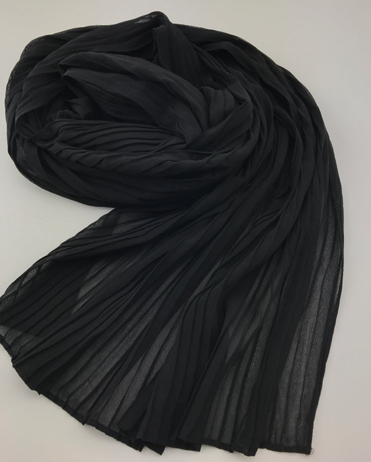 Chiffon pleated - BLACK 011